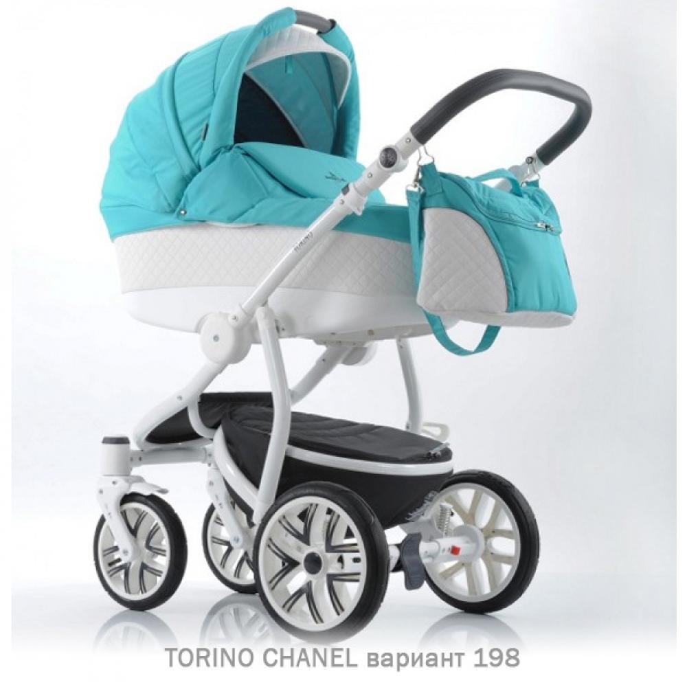 Детская коляска 2 в 1 TORINO CHANEL «зима — лето». Цвет 198 (голубой с белым)