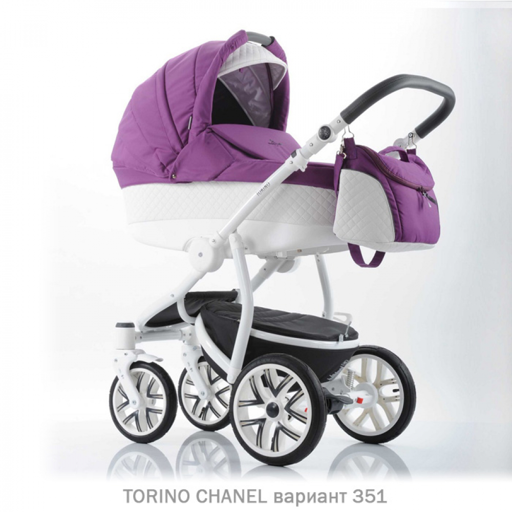 Детская коляска 2 в 1 TORINO CHANEL «зима — лето». Цвет 351 (фиолетовый с белым)
