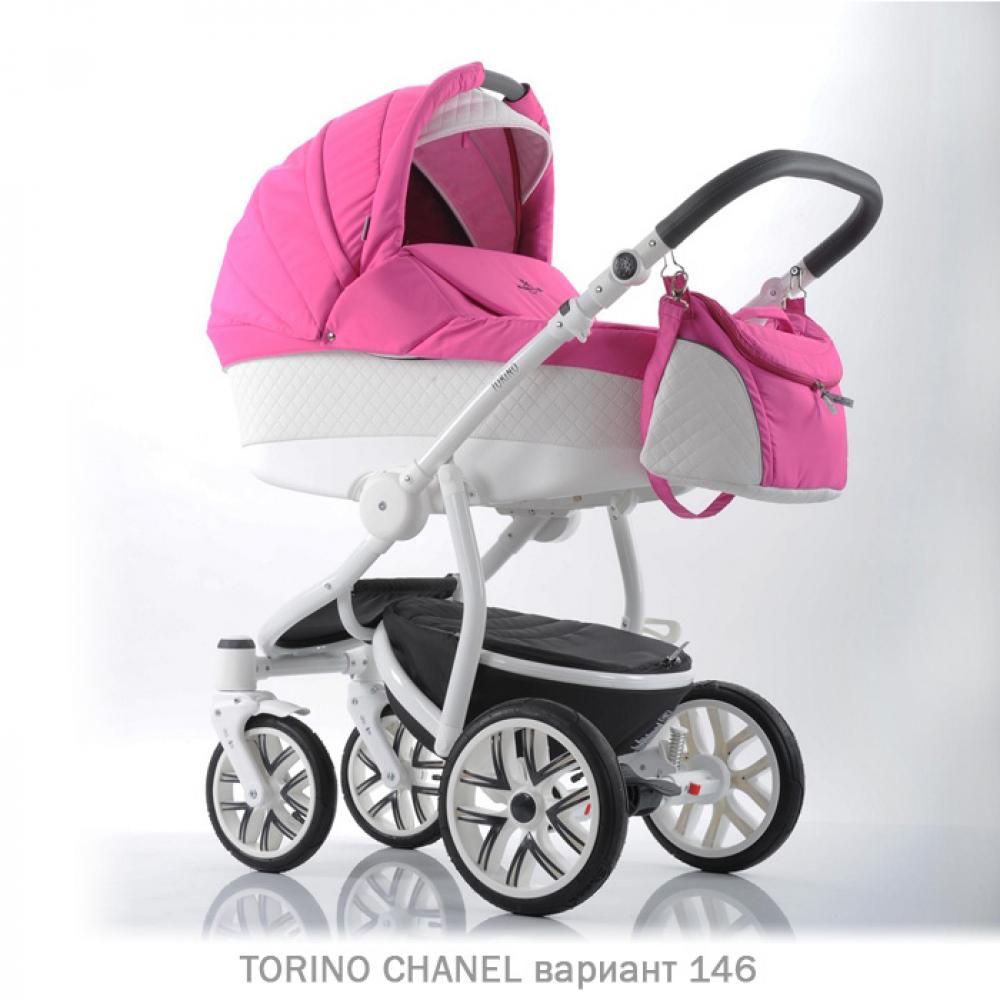 Детская коляска 2 в 1 TORINO CHANEL «зима — лето». Цвет 146 (розовый с белым)