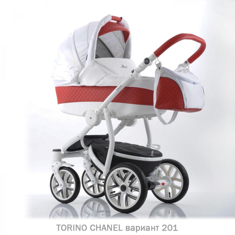Детская коляска 2 в 1 TORINO CHANEL «зима — лето». Цвет 201 (белый с красным)