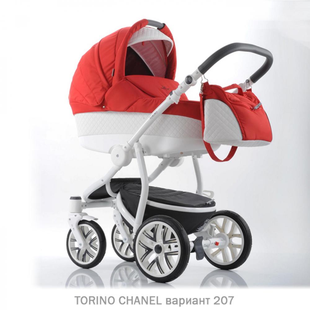 Детская коляска 2 в 1 TORINO CHANEL «зима — лето». Цвет 207 (красный с белым)
