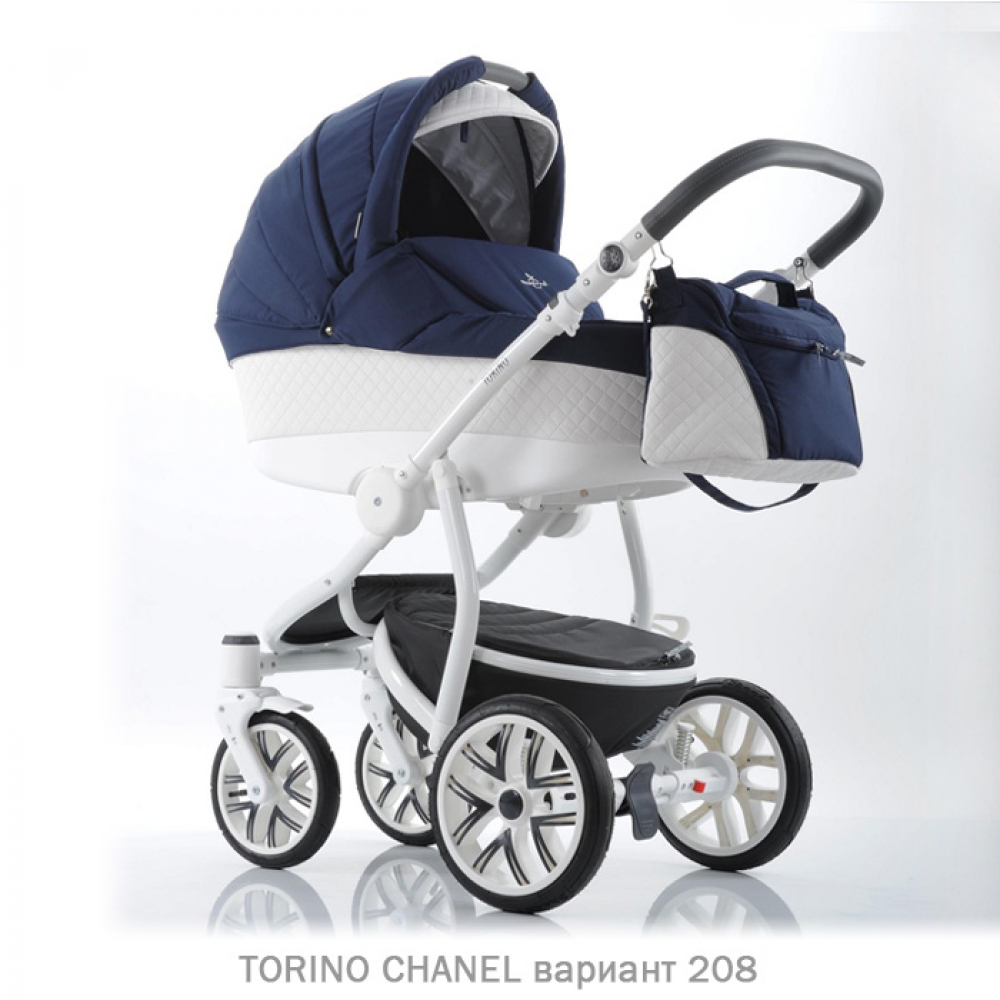 Детская коляска 2 в 1 TORINO CHANEL «зима — лето». Цвет 208 (темно-синий с белым)