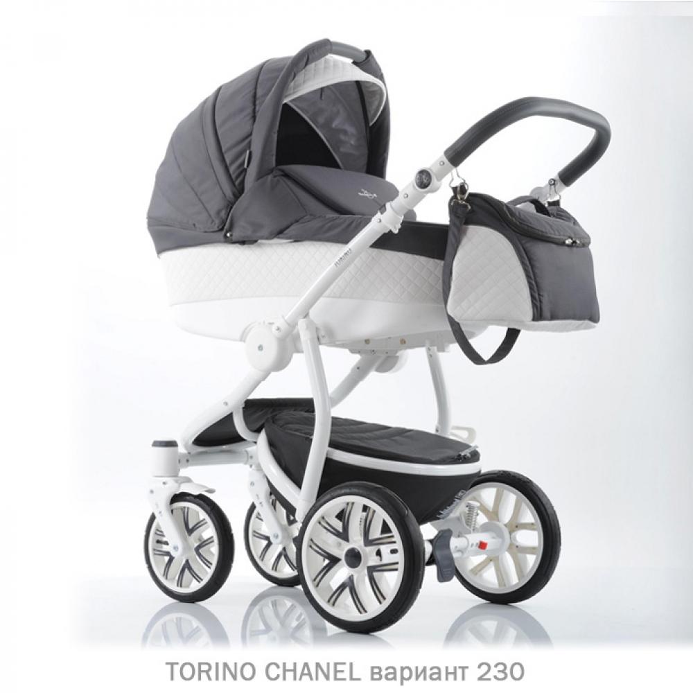 Детская коляска 2 в 1 TORINO CHANEL «зима — лето». Цвет 230 (серый с белым)