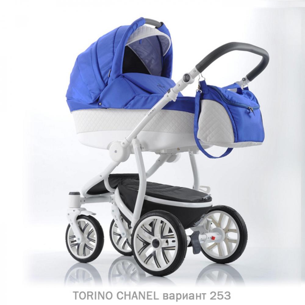 Детская коляска 2 в 1 TORINO CHANEL «зима — лето». Цвет (синий с белым)
