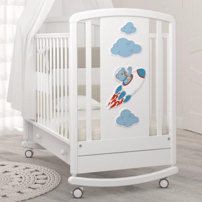 Кроватка-качалка Жаклин (мишка на ракете) 120x60