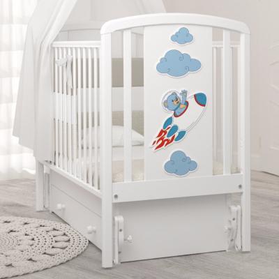 Кроватка Жаклин (мишка на ракете) 120x60 с универсальным маятником
