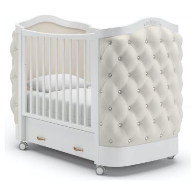 Кроватка на колесиках Тиффани декор стразы 120x60