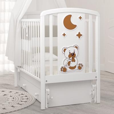 Кроватка Жаклин (мишка с соской) 120x60 с универсальным маятником